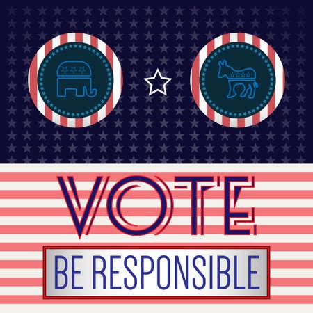 democrat: Digital vector usa presidential election 2016 vote with republican vs democrat, flat style Illustration