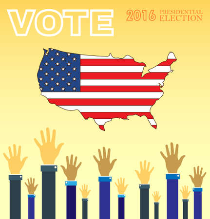 Digital vector usa presidential election 2016 with vote and hands in the air, flat style