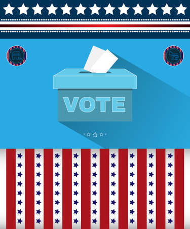 Digital vector usa presidential election 2016 with vote box and democrat vs republican, flat style
