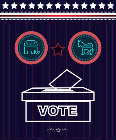 democrat: Digital vector usa presidential election 2016 with vote box and democrat vs republican, flat style