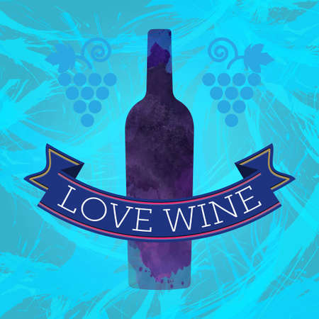 colored bottle: Wine tasting card, grape sign and a colored bottle, blue ribbon love wine. Digital vector image.