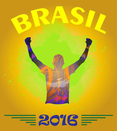 Digital vector, abstract brasil 2016 winner sportman champion with hands in the air, flat style