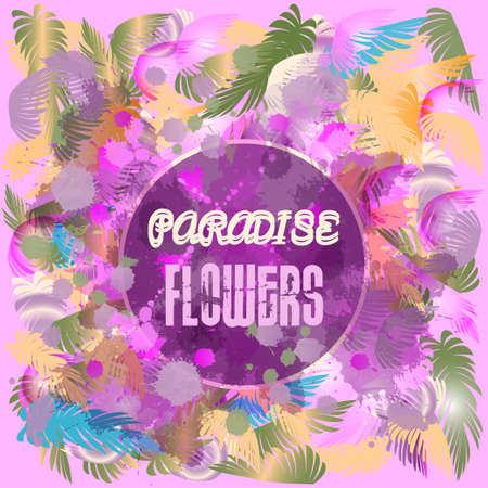 Digital vector purple colored paradise flowers background, flat style