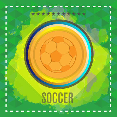 footy: Digital vector, football and soccer ball, abstract green background with stars and triangles, flat style