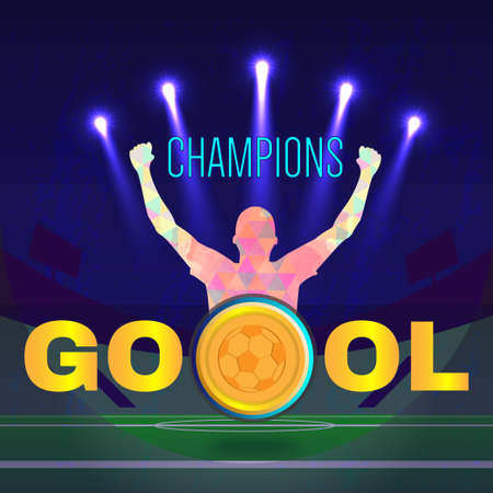footy: Digital vector, football and soccer champions, gool, abstract sportman with hand in the air, stadium with light