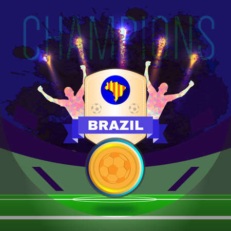 footy: Digital vector, football and soccer brazil champions, gool, abstract sportmen with hand in the air, stadium with lights Illustration