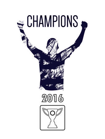 sportman: Digital vector, abstract winner sportman champion with hands in the air, flat style Illustration