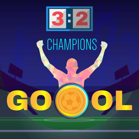 footy: Digital vector, football and soccer champions, gool, abstract sportsmen with hand in the air, stadium with lights