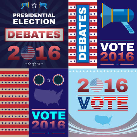 presidential: Digital vector usa presidential election with debates 2016, flat style