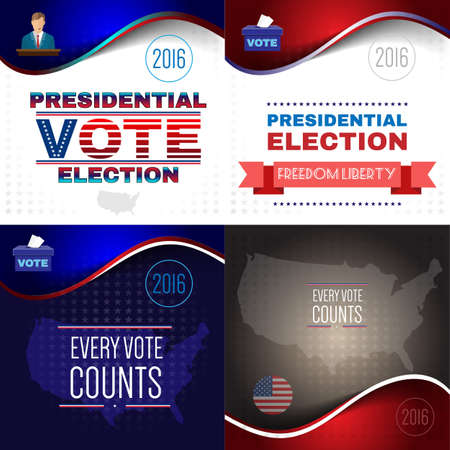 nomination: Digital vector usa presidential election with every vote counts, flat style