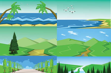 Vector abstract green landscape set with blue and sea shores, hills and road, flat zigzag style. Illustration