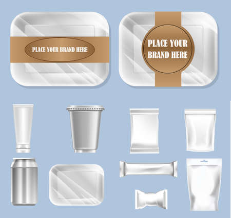 packaged: Vector set of food trail and white polyethylene foil package for sugar, bubble gum, sweets and candies mockup ready for your design