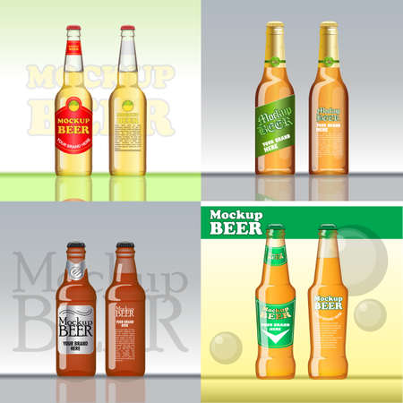 Digital vector beer set mockup, green and golden bottle, realistic flat style, isolated and ready for your design and logo