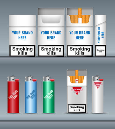 cigarette pack: Digital vector silver cigarette pack mockup and lighter, front and lateral view, smoking kills, realistic flat style, isolated and ready for your design and logo Illustration