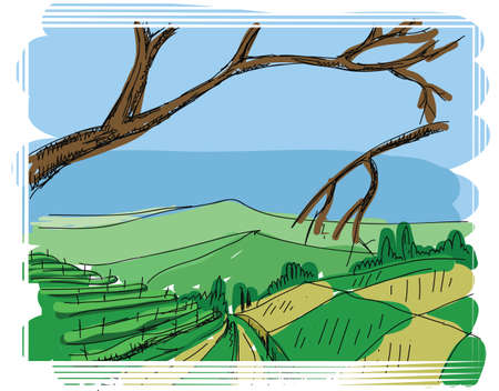 green fields: Abstract hand drawn background with tree and view on green fields doodle