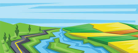 Digital vector abstract background with river, trees and green fields, flat triangle style