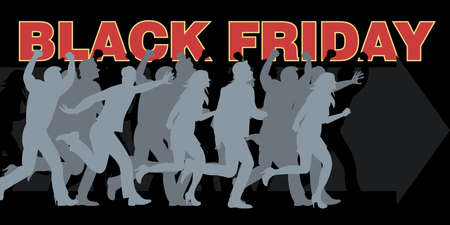 black people: Digital vector black friday sale inscription design template with many people running. Stock Photo