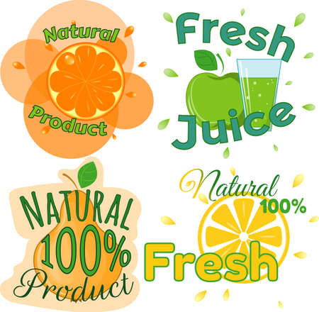 limon: Digital vector fresh orange juice, glass and green leafes. Pear, apple and limon. Flat style