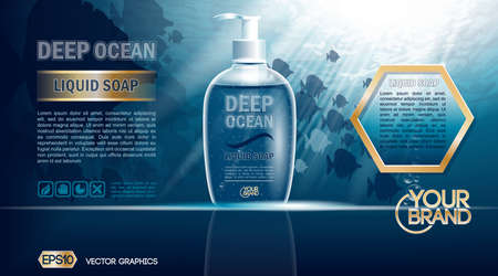 vectored: Digital vector blue deep ocean liquid soap mockup on water background with bubbles and fish, your brand, ready for design. Realistic style Stock Photo