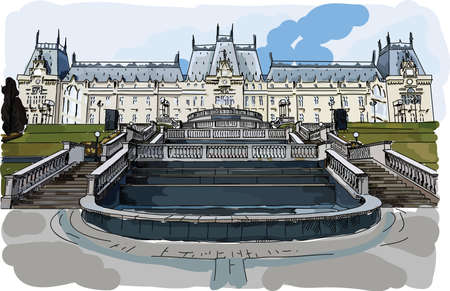 Digital vector painted palace of culture in Iasi, Romania, flat style