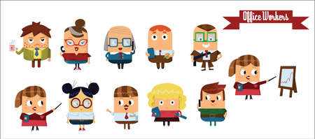 different thinking: Digital vector cartoon characters set, office workers showing different emotions, talking, eating, smiling, thinking