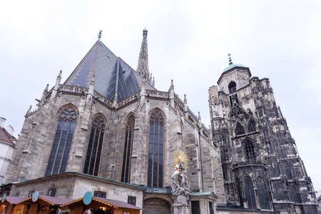 stephen: Photo of saint stephens cathedral and christmas market, is the mother church of the roman empire, vienna, austria