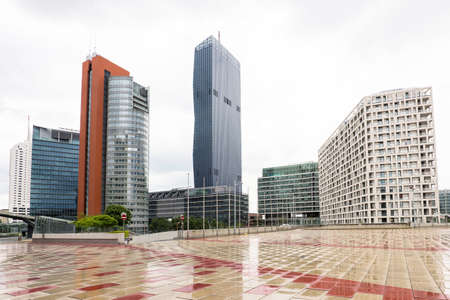 onu: View on financial district with tall buildings and business centres in vienna, austria