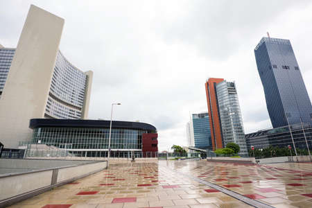 onu: View on financial district with onu buildings and business centres in vienna, austria