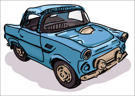 Digital vector sketch of an old retro blue car Stock Photo
