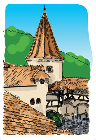 Digital vector castle sketch with blue sky Stock Photo