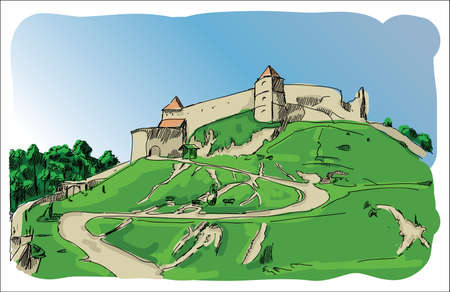 Digital vector castle sketch with blue sky and zigzag road Stock Photo