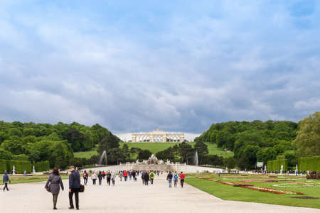 gloriette: AUSTRIA, VIENNA - MAY 15, 2016: Photo view of gloriette building and people at schonbrunn palace and garden Editorial