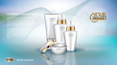 Digital vector white matte surface skin care cream cosmetic container mockup collection, your brand, ready for print ads or magazine design. Golden stripe. Transparent and shine, realistic 3d style Illustration