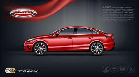 디지털 벡터 빨간색 모델 세 단 차 2 석 및 검은 windows mockup, 귀하의 브랜드, 인쇄 광고 또는 잡지 디자인에 대 한 준비. 리본이 달린 어두운 배경. 투명하고 빛나는 3D 스타일