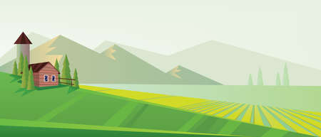 Digital vector abstract background with pines, green and yellow fields and clouds, farm house, mountains, flat triangle style