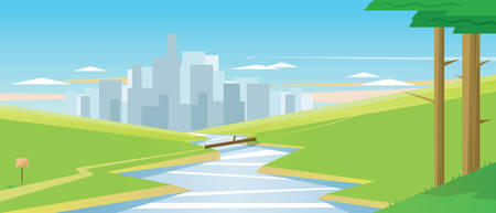 Digital vector abstract background with trees, a river and cityscape view with high buildings, green fields, flat cartoon triangle style Illustration