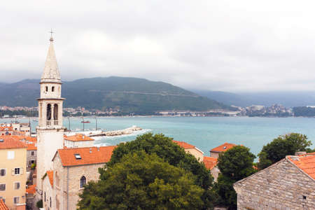 The view of church in budva old town, one of the best preserved medieval cities in the mediterranean Stock Photo