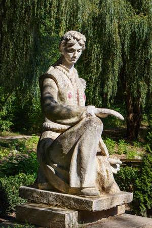 Women old statue in central park in Edinet city, north of republic of Moldova