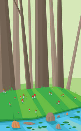 sheep road sign: Digital vector abstract background with green and brown forest, tall trees, mushrooms on green grass and river with lotus plants, flat triangle style
