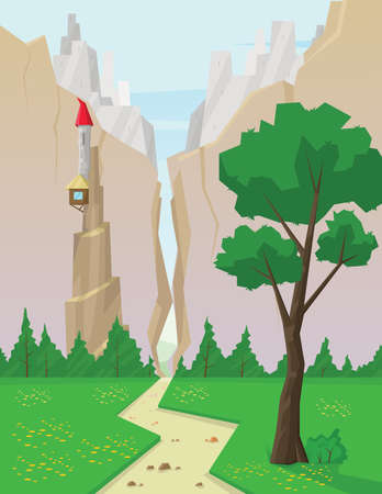 sheep road sign: Digital vector abstract background with green grass and a path to mountains, castle in rocks, flat triangle style Stock Photo