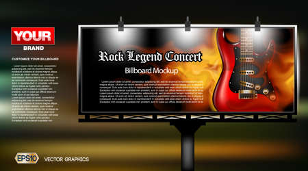 lightbox: Digital vector rock legend concert close up mockup lightbox advert at night, ready for print or magazine design. Your brand, show and festival. Dark background, red electric guitar. Realistic 3d Illustration