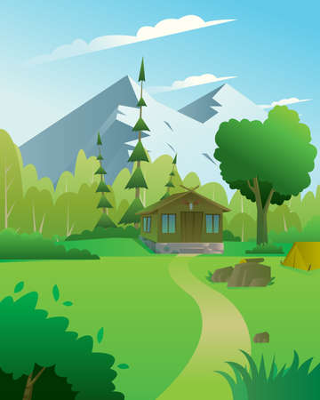Digital vector abstract background with a hunter house with deer head, forest and mountains, blue sky and clouds, flat triangle style Stock Photo