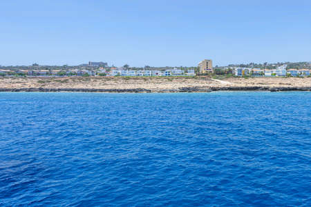 Sea view with immaculate water, beach and hotels, un buffer zone, famagusta, cyprus island
