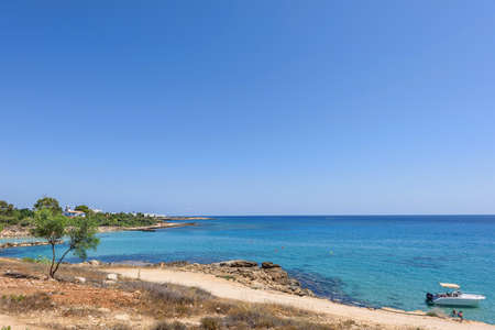sunshade: Sea view with immaculate water and blue sky, protaras, cyprus island