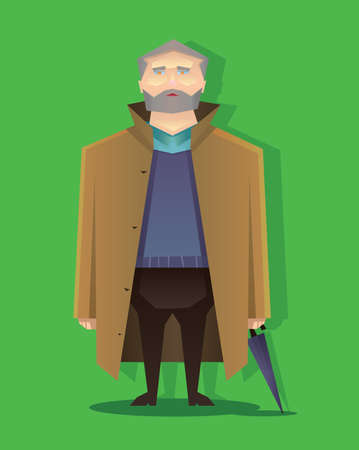 Digital vector abstract old cartoony man with brown coat, beard and umbrella, over green background, flat triangle style