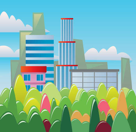 Digital vector abstract background with buildings and city view, forest with red, green and yellow trees, clouds, blue sky, flat triangle style Stock Photo
