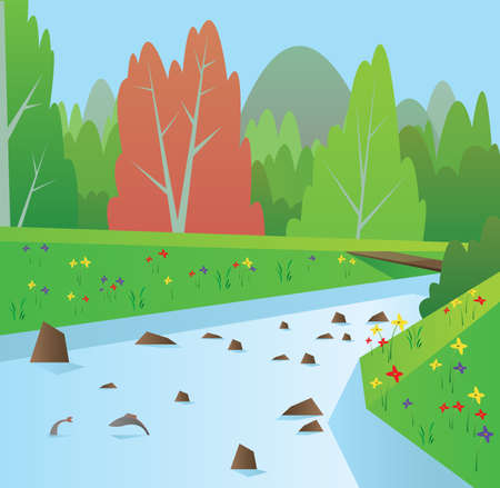 Digital vector abstract background with a blue river with fish, forest with red and green trees, flowers, blue sky, flat triangle style