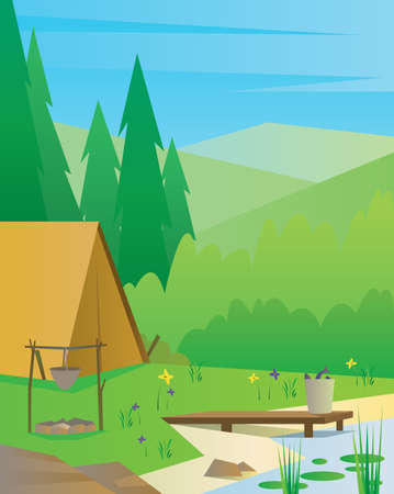 Digital vector abstract background with a tourist camp with fireplace, big tree, a river and fish, blue sky, flat triangle style Stock Photo