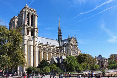 View on Notre-Dame Cathedral, front view, paris city, france