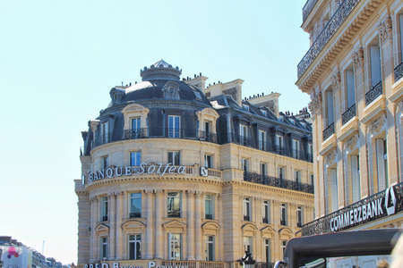 PARIS, FRANCE - SEPTEMBER 10, 2015: Solfea bank building, front view and street Editorial